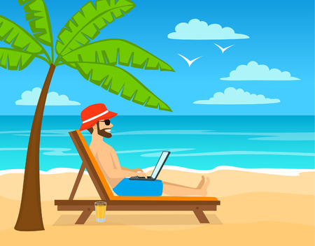 vacation with laptop: man working on laptop, pc on tropical island, beach. Illustration