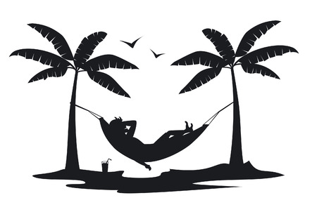 person relaxing lying in hammock on the beach under palm trees silhouette scene