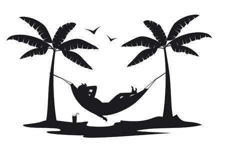 Persona, relajante, acostado, hamaca, playa, debajo, palmeras, silueta, escena Foto de archivo - 80917134
