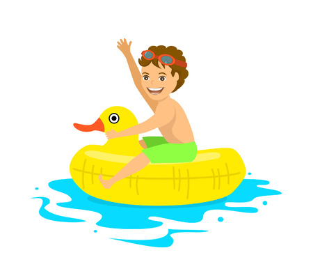 happy boy floating on inflatable duck inner ring tube isolated vector illustration Illustration