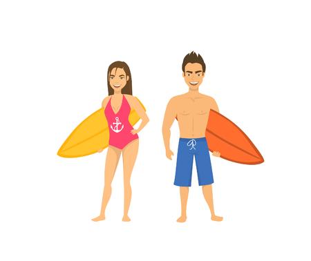 サーファー カップル、男と女がサーフボード分離漫画と立ってベクトル イラスト  イラスト・ベクター素材