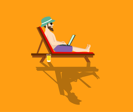 happy freelancer working on pc on the beach stylized vector illustration