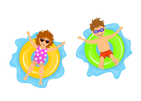 boy and gorl swimming on inflatable inner rings, top view, isolated