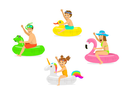 family, man woman, parents and children on summer time vacation swimming on iflatable floating  mattress rings in shapes of dragon, duck, flamingo, unicorn Vettoriali