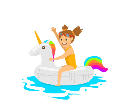 mattress: cute girl sitting on swimming floating inflatable ring in shape of unicorn
