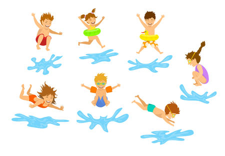 jumping into water: active kids children, boys and girls diving jumping into swimming pool water isolated Illustration