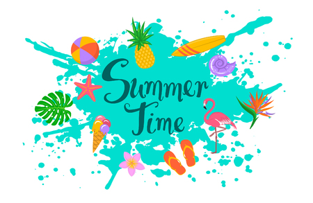 summer time isolated background with paint splatter, hand written text and decorative elements. flip flops, monstera leaf, bird of paradise and plumeria flower, flamingo, seashells, pineapple, surfboard 向量圖像