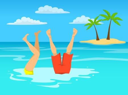 L'homme et la femme s'amusent aux vacances à la plage, en nageant en mer, en océan, se tiennent sur les bras dans l'eau Banque d'images - 81864490
