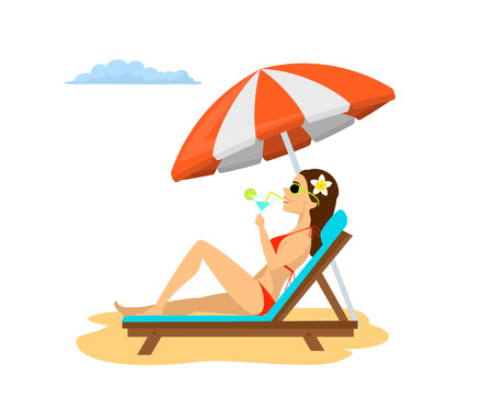 woman relaxing on the sun chair under beach umbrella on vacation, sunbathing, drinking cocktail. summer fun