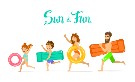 float fun: family, man woman, parents and children on summer time vacation running on the beach with inflatable floating swimming mattress and rings, isolated