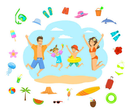 bal: family man woman boy girl kids children jumping for joy on a beach vacation holidays. summertime decoration around, hat, shorts, swimsuit, suitcase, cocktail, glasses, flippers, snorkeling mask, watermelon, bal, dolphin, jellyfish, ice cream, surfboard Illustration