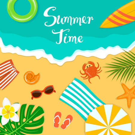Summer time beach vacation holidays background with man trunks, sunglasses, flip flops, surfboard, umbrella, ring float, crab, palm leaf, towel and seashells on sand and sea Illustration