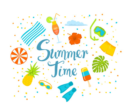 summer time hand written text background with snorkeling mask, pineapple, beach umbrella, towl, exotic cocktail, monstera leaf, shorts