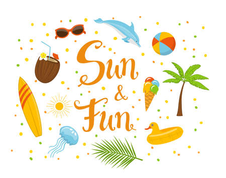sun cream: sun and fun hand written text poster with surfboard, jellyfish, palm leaf, tree, children swimming duck float, sunglasses, dolphin and beach ball