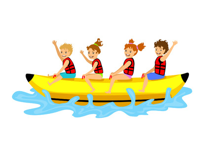 kids children riding banana boat. summer beach time fun activities Stok Fotoğraf - 81864688