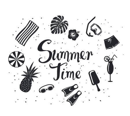 summer time  background with decorative silhouettes: snorkeling mask, pineapple, beach umbrella, towel, exotic cocktail, monstera leaf, shorts and hand written text in black color