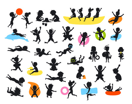 silhouettes set of summer time children on the beach swimming diving jumping playing ball, making of sand castle, snorkeling, sliding on tubes, floating on inflatable mattress and rings, running, riding banana boat Illustration