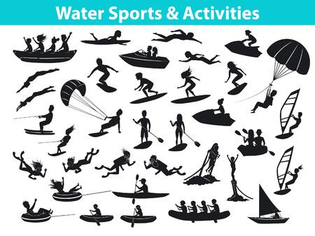 Sport estivi d'acqua sulle spiagge, attività set SIlhouette. Persone, uomo, donna, coppia, windsurf, surf, jet ski, stand up paddleboarding, snorkeling, immersioni subacquee, tubi, barca a vela e banana galleggiante, fly boarding, kayak, parasailing,