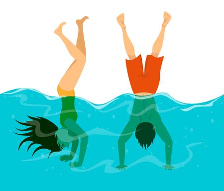 Homme et femme s'amuser dans la piscine, la plongée et se tenir debout sur les bras dans l'eau Banque d'images - 81864697