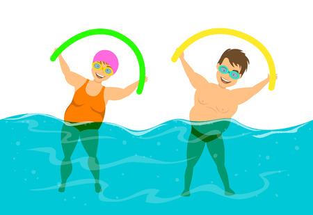 Coppia di peso eccessivo, l'uomo e la donna fanno l'acqua aqua fitness aerobica in piscina Archivio Fotografico - 81860847