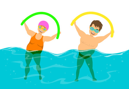 overweight couple, man and woman do water aqua fitness aerobics in the  swimming pool Vectores