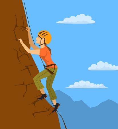 limestone: woman climbing up the mountain