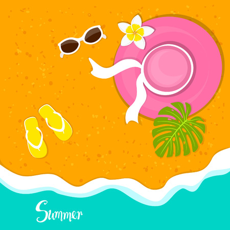 Summer time beach vacation holidays background with woman hat, sunglasses, plumeria flower, flip flops and monsters tropical leaf on sand Illustration