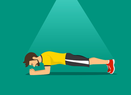 man exercising, training worout in plank position Ilustrace