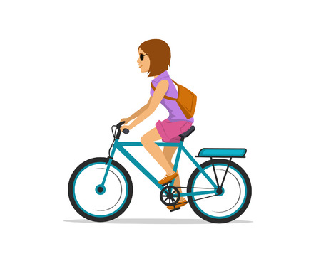 woman riding electric bike isolated Illustration