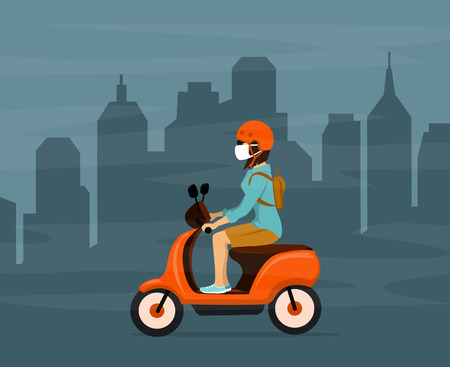 woman driving electric scooter in city smog wearing protection mask