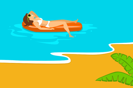 woman relaxing sunbathing on beach vacation, swimming on inflatable mattress in the sea