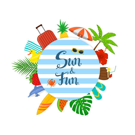 summer beach time time travel background  banner with decorative items arranged in circle