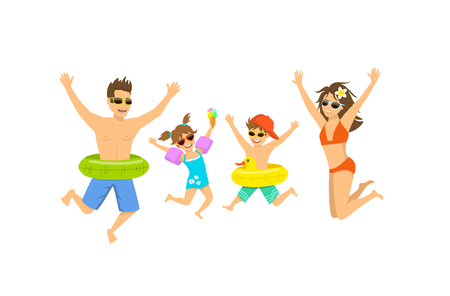 family, man woman boy girl, parent and their children jumping for joy, happy to be on vacations on a beach