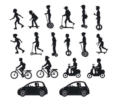 cool gadget: People, men and women riding modern electric scooters, cars, bicycles , skateboards,segway,hoverboard. Perconal eco friendly trasportation vehicles Silhouette set