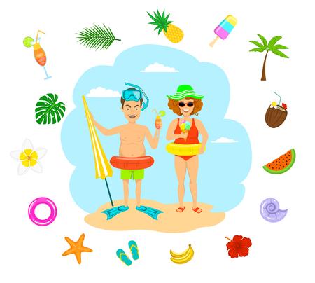 divertido pareja hombre y mujer en trajes de baño comer helado beber cócteles de vacaciones, tiempo de verano alrededor de la decoración, piña, flip flops, flores tropicales, hoja de palma, conchas marinas, helado, coco