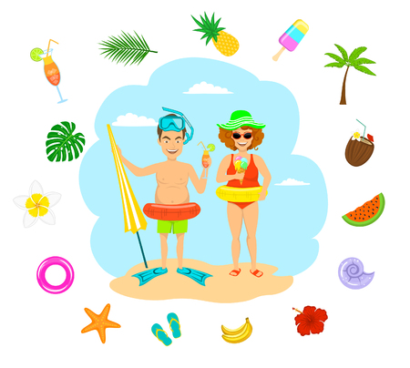 funny couple man and woman in swimsuits eating ice cream drinking cocktails on vacation, summer time decoration around, pineapple, flip flops, tropical flowers, palm leaf, seashells, ice cream, coconut