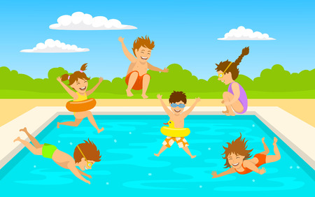 children kids, cute boys and girls swimming diving jumping into pool scene background Vettoriali