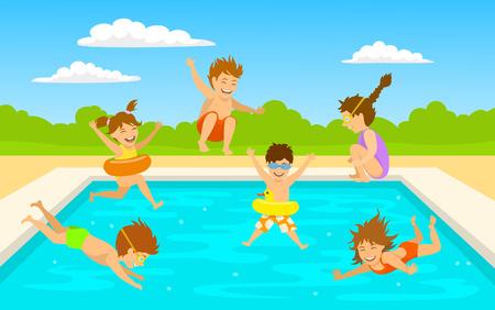 kinderen kinderen, schattige jongens en meisjes zwemmen duiken springen in zwembad scène achtergrond Vector Illustratie