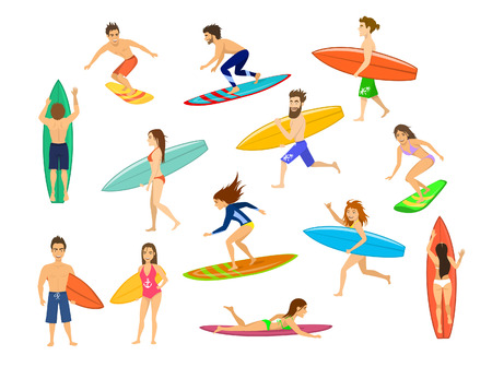 surfers set. men and women surfing, riding waves, stand , walk, run, swim with surfboards, top and side front view