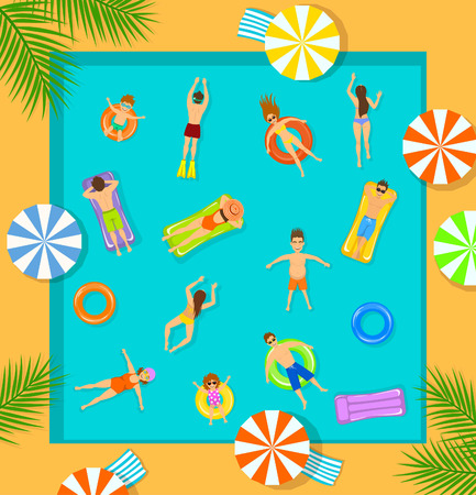 float fun: swimming pool top view beach summer time scene with people , men women children swimming, floating on inflatable mattress and rings