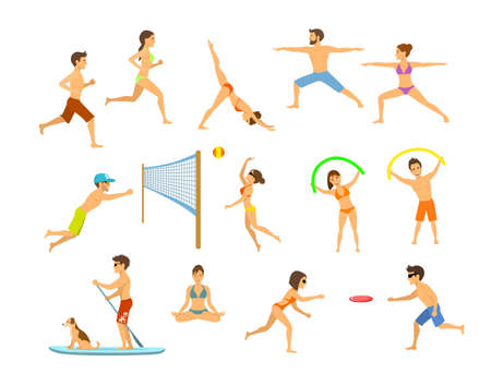 active people men and women on the beach exercising, do yoga, aerobics, stand up paddle with dog, meditation, running jogging, play beach volleyball and frisbee