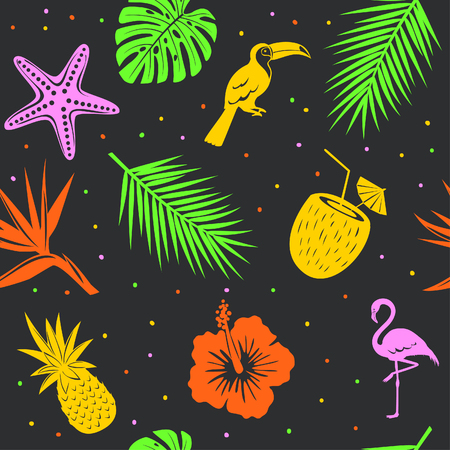 tropical seamless pattern with palm leaves seashell coconut  flamingo, toucan pineapple on black background