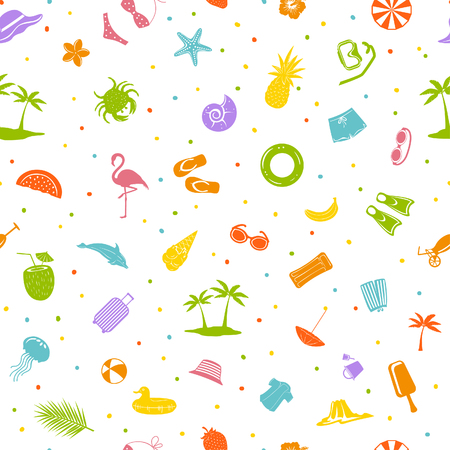 colorful summer time beach travel items decoration seamless pattern
