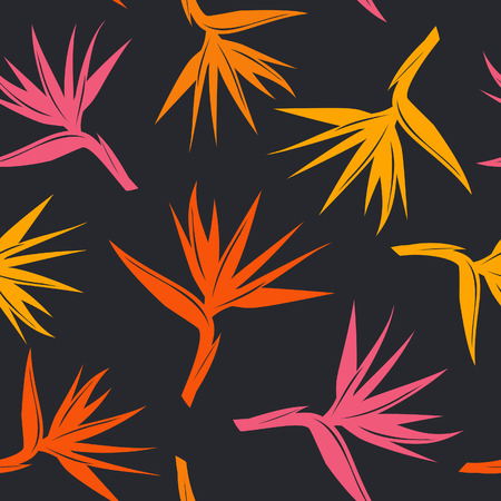 seamless pattern with tropical exotic flower bird of paradise in orange yellow, red colors on black background