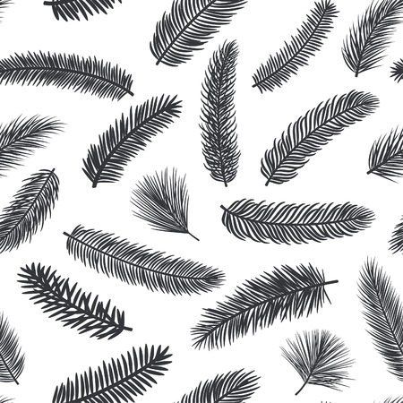 conifer: Black and white seamless pattern with fir pine evergreen conifer twigs branches
