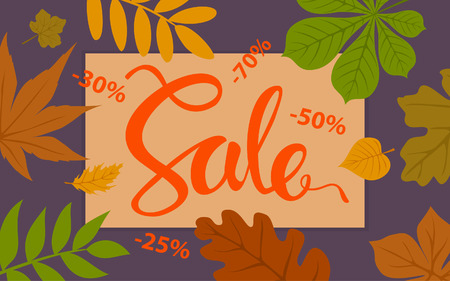 Autumn sale promotional background template with forest fall leaves border