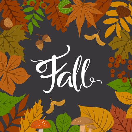 Autumn fall leaves frame border background Illustration