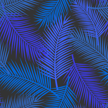 Palm leaf tropical exotic seamless pattern in blue colors Illustration