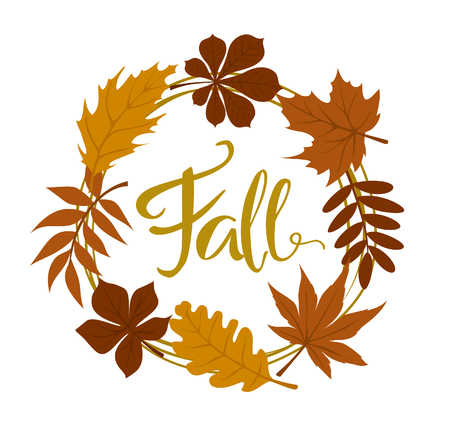 Fall autumn forest leaves wreath