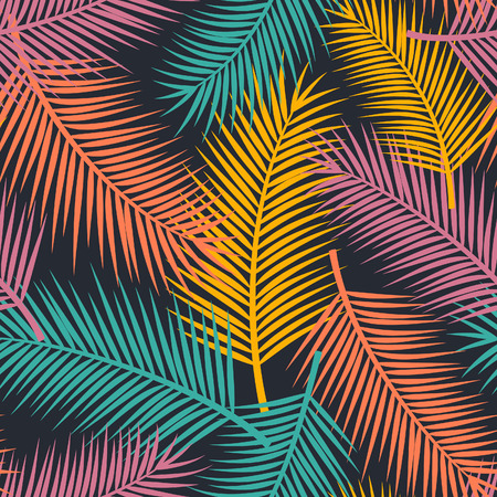 Colorful seamless pattern with palm leaves